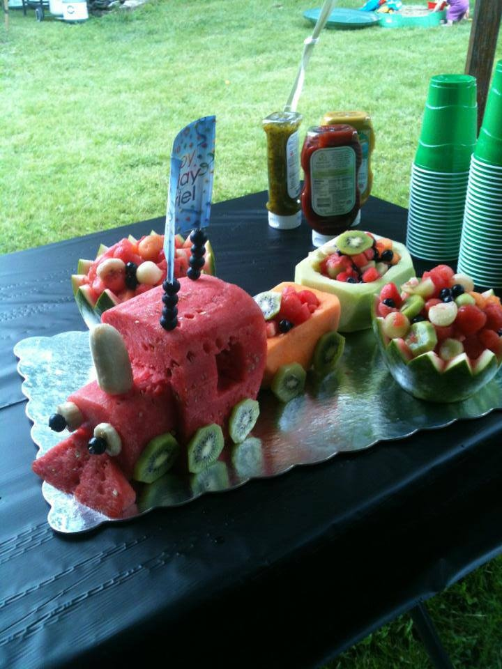 A fun version of a Fruit train. I love the headlights and cattle grate.