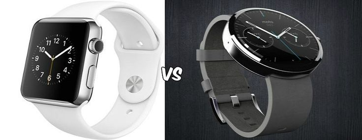 Moto 360 vs Apple Watch Showdown: Apple Watch seems to Dominate Moto 360  See more at: http://blog.zopper.com/moto-360-vs-apple-watch-showdown/  The Moto 360 can be paired with the Moto G, Moto X and Nexus 5 among other Android devices but it works fairly well on its own.