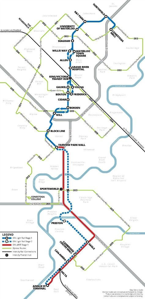 Waterloo Region Rapid Transit Maps (completion 2017 and beyond)