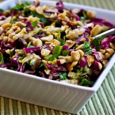 When you're trying to get back on track after an indulgent meal, this Napa Cabbage and Red Cabbage Salad with Fresh Herbs and Peanuts is delicious and makes a great #LowCarb option when you need to get back on track! [from KalynsKitchen.com]