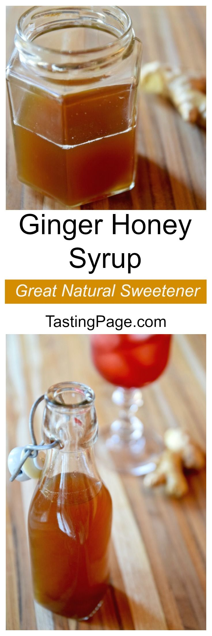 3 ingredient honey ginger syrup - a great natural sweetener with no refined sugar. Add it to hot or cold tea or your favorite cocktail | TastingPage.com
