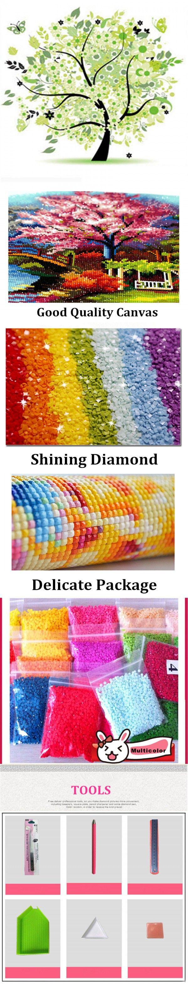 WZW-062 2016 Sale Kits home decor for Embroidery Diy Diamond Painting Lucky tree spring Handicraft Inlay Fabric 30X28CM $15.88