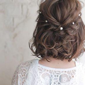 Perlenhochzeitsfrisuren für kurze Haare