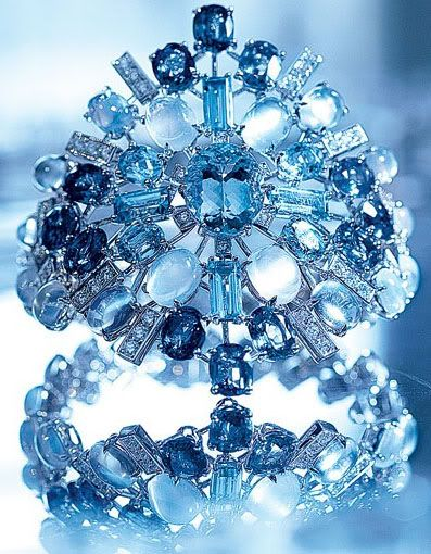 Chanel Fine Jewelry bracelet aquamarines, blue sapphires, and moonstones.