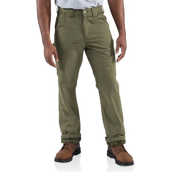 Carhartt Washed Twill Dungaree Flannel Lined Pant | Army Green