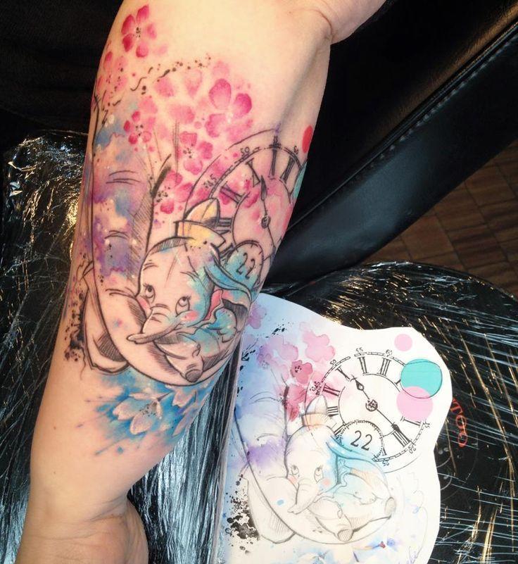 nice Watercolor tattoo - Dumbo disney watercolor tattoo Carolina Avalle...