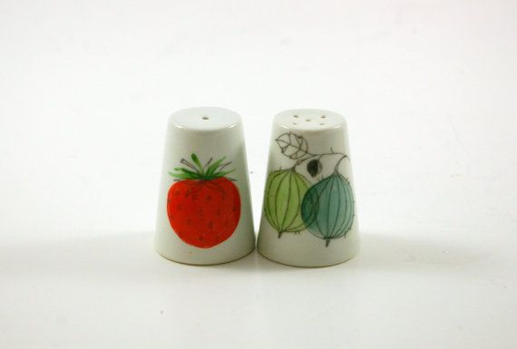 "Salt and pepper shakers, designed by Esteri Tomula in Arabia's hard-to-find ""Marja"" pattern.."