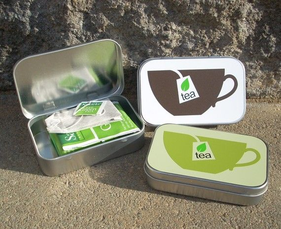 Tea-to-go in an Altoids tin...I can decorate them and give them with some tea in them. Nice little gift.