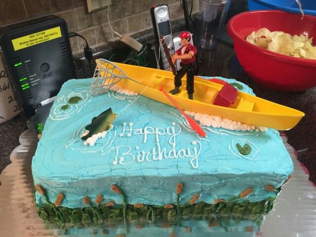 Gone fishing cake, pond cake, lake cake, bass cake