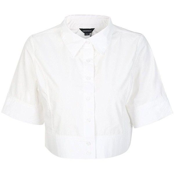 HAOYIHUI Women's Lapel Half Sleeve Button Down Crop Shirt Top ($15) ❤ liked on Polyvore featuring tops, cut-out crop tops, cropped shirts, white top, elbow length shirts and shirt crop top