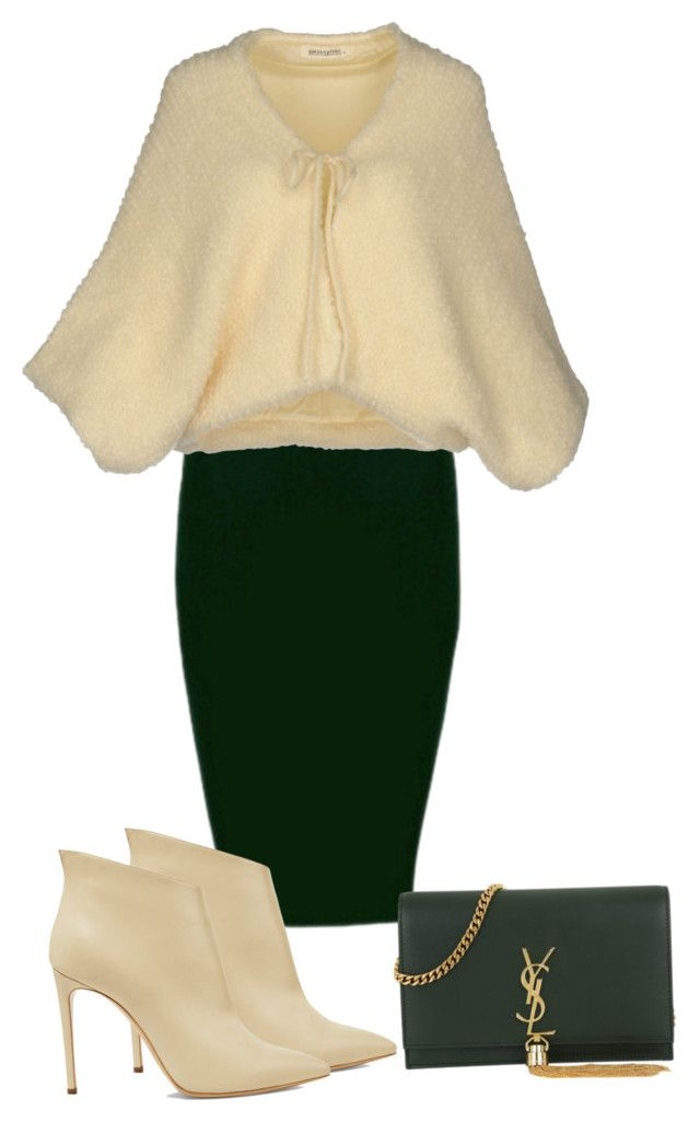green - cream by slavka-cesnek on Polyvore featuring Ermanno Ermanno Scervino, Casadei and Yves Saint Laurent