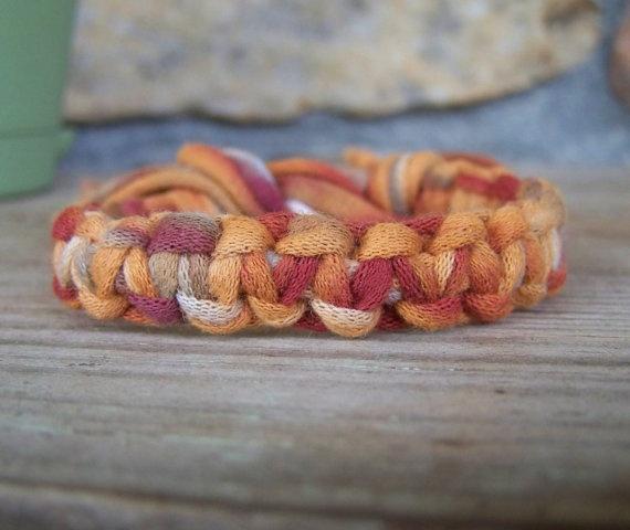Art t-shirt yarn bracelet...camp craft? jewelry