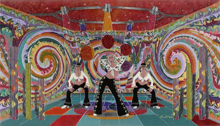 Funky Dance / peinture vitrail et céramique