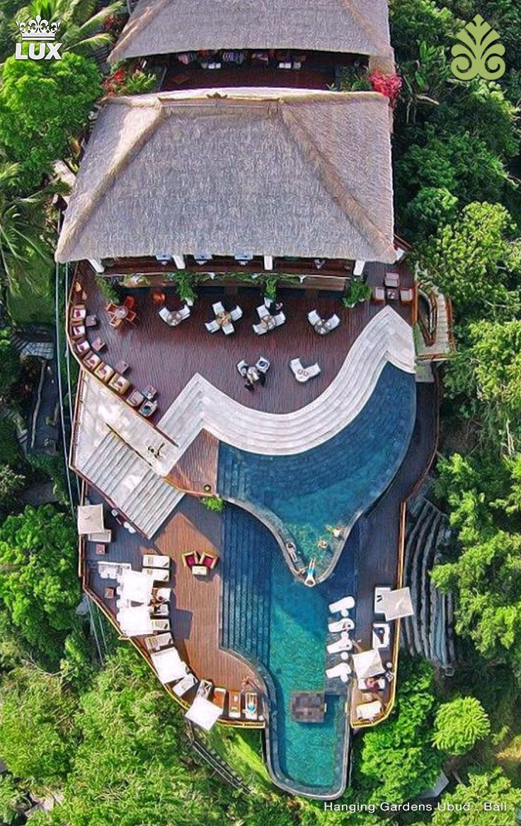 Exotic Vacation Locations You Wish You Could Win a Trip to Hanging Gardens of Bali surrounded by lush rainforests, this acclaimed resort is 13 km from the Neka Art Museum and 19 km from Tirta Empul water temple. Luxurious destination in the heart of Bali, a spectacular resort with the World's Best Swimming Pool. #hanginggardensubud #balihotel #hotelbali #ubudhotel
