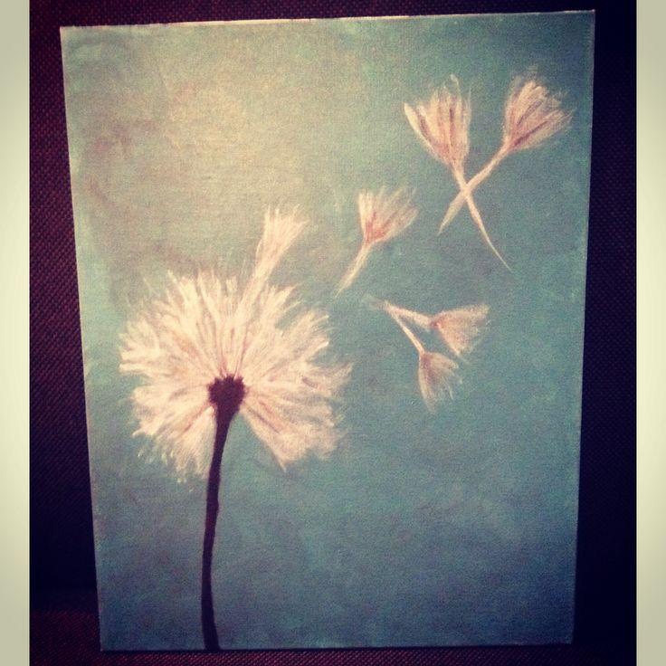Dandelion DIY canvas painting | Dandelion paint ...