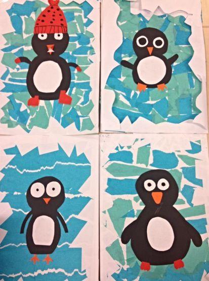 Pinguïn op ijsschots. Gemaakt door groep 7 en 8.
