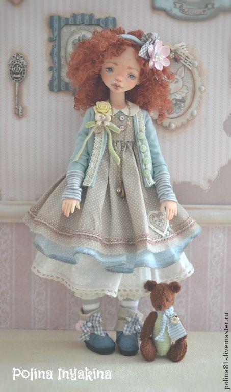 Марисоль - кремовый,кукла ручной работы,кукла с мишкой,Кукла с рыжими волосами