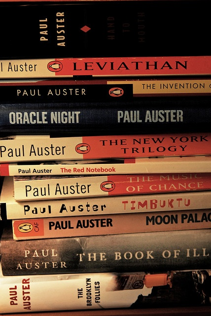 Paul Auster books please; oracle night, the music of chance, the Brooklyn follies, sunset park and levaithan would be lovely x