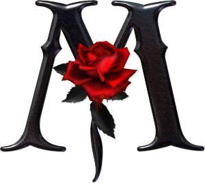 Abecedario gótico adornado con rosas. Letra M mayúscula.