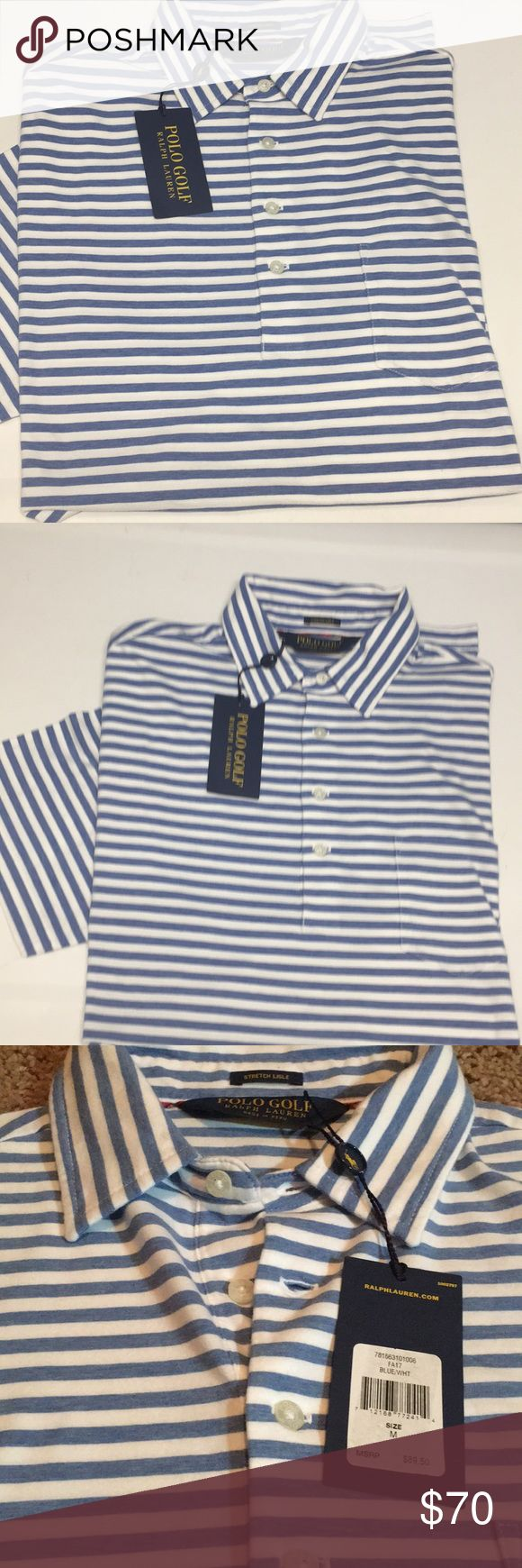 🆕 POLO GOLF Ralph Lauren Lisle Stripe Shirt $90 New with tags | Men's size Medium | POLO GOLF Ralph Lauren | Short Sleeve | Stripes Polo Shirt with Pocket | UOC: 712168772414 | MSRP: $89.50 | New with Tags | See last photo for item description and measurements Polo by Ralph Lauren Shirts Polos