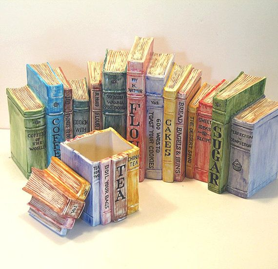 Ceramic Kitchen Canister Sets | Ceramic Canister Set 4 Vintage Hand Painted  Kitchen Storage Faux Books