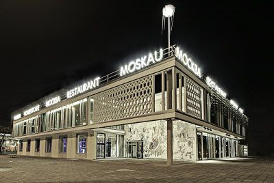 Famous restaurant Cafe Moskau in east Berlin at the Karl Marx Alle in Berlin, Germany