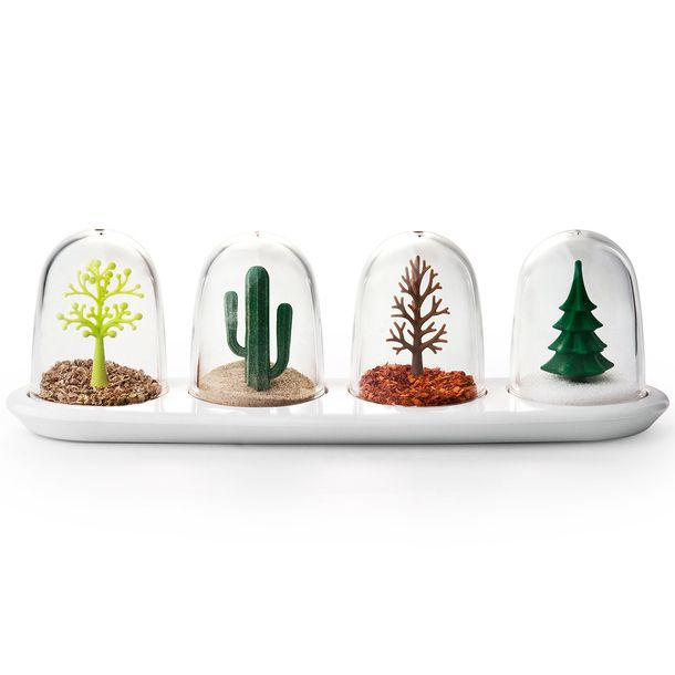 Four Seasons Spice Shakers. Store seasoning in different season globes. Think red pepper flakes = fall leaves. Raw sugar = hot dessert sand. Salt = winter snow. CLEVER.