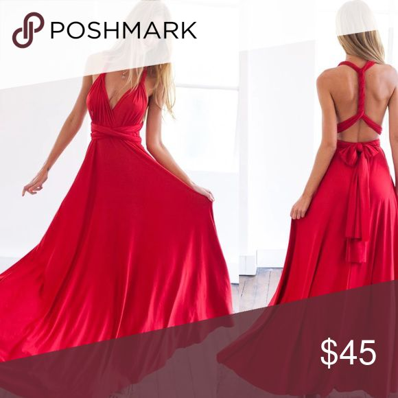 Beautiful red multiway dress ! Flattering Easy to style - no wrong way to wear it Works on all body types Great for travel. Saves money during weight transition Fabulous during pregnancy  Fun and affordable for bridesmaid dresses. Dresses Maxi