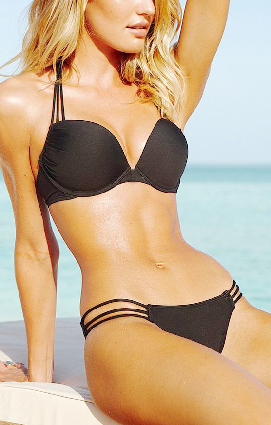 Black Halterneck Push-up Bandeau Bikini - when I get skinny again I want this!