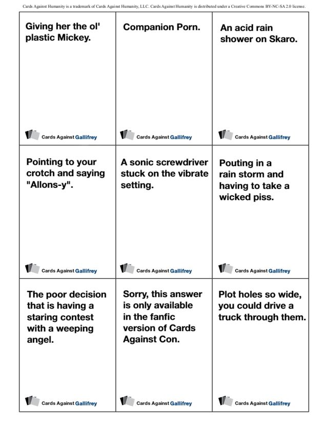 Print out the Doctor Who version of Cards Against Humanity right now