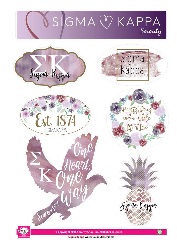 Sigma Kappa Sorority Stickers- Water Color - Brothers and Sisters' Greek Store