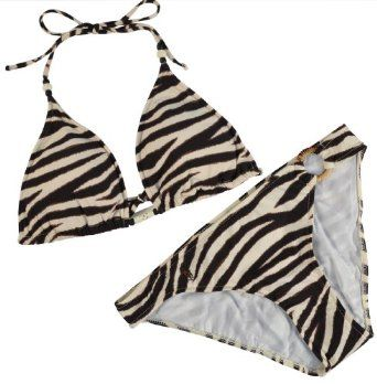 Polo Ralph Lauren Women\u0027s Animal Print Zebra 2 Piece Bikini Swim Suit -Brown/Beige