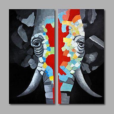 【今だけ送料無料】現代アートなモダン キャンバスアート 絵 壁 壁掛け 油絵の特大抽象画2枚で1セット 動物 象 エレファント 牙 優しい目【納期】お取り寄せ2~3週間前後で発送予定