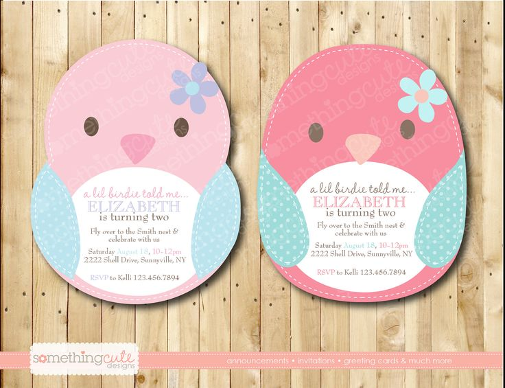 little birdie told me....bird birthday or baby shower invitation. $15.00, via Etsy.