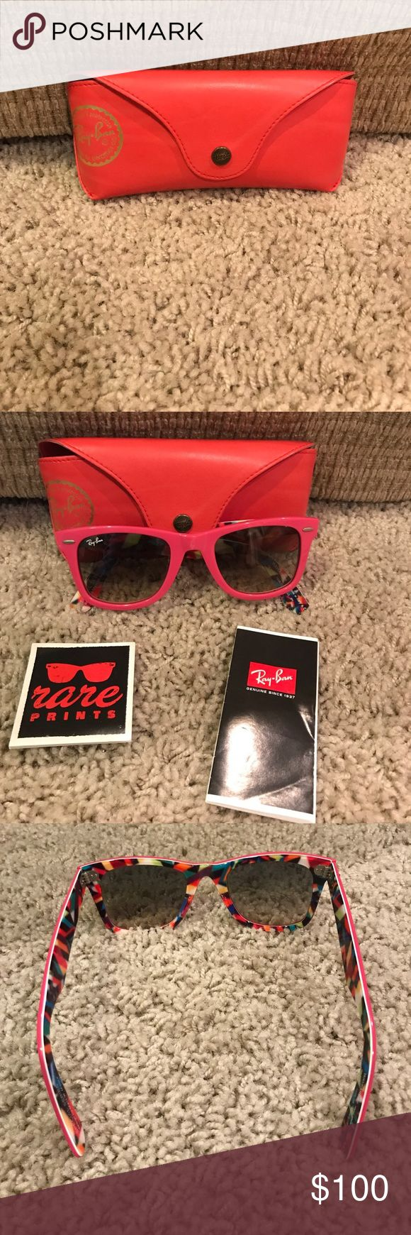Ray Ban Wayfarer ONE OF A KIND- Pink RayBan Wayfarer sunglasses. Only worn Once! Have authentic tags. These have a hand-designed print inside of them. PERFECT sunnies for summer! Ray-Ban Accessories Sunglasses