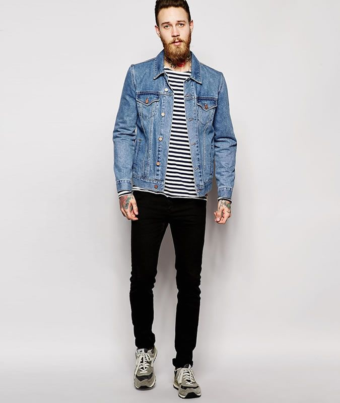 Men's Denim Jacket, Skinny Jeans and Sneakers / Trainers - nice style