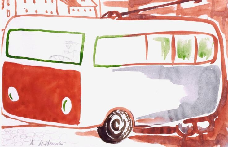 Andrzej Wróblewski - Trolejbus, lata 50-te, akwarela, papier