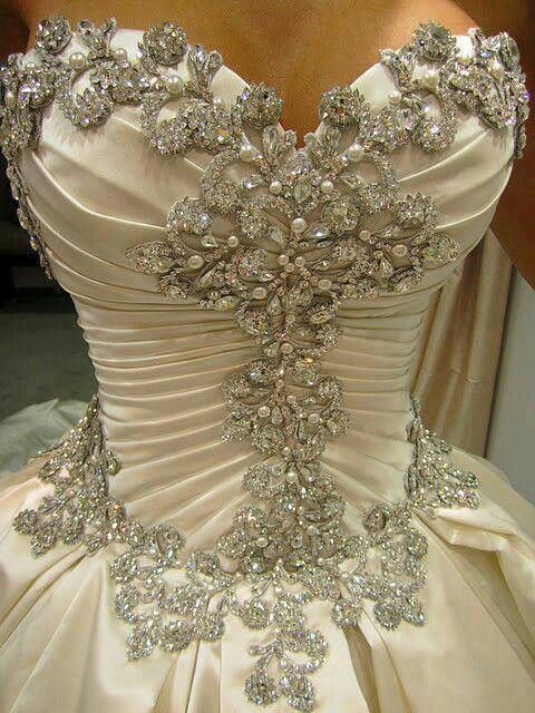 Rhinestone wedding dress detail ht