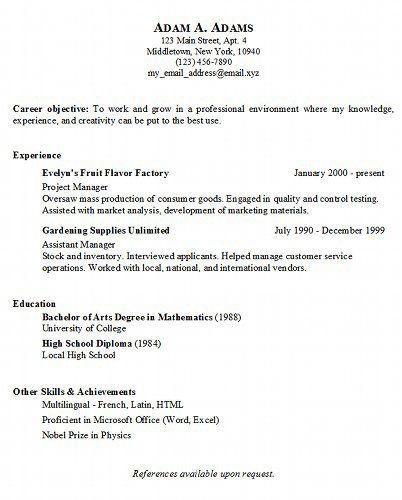 simple resume samples free | Basic Resume Generator | resumes ...