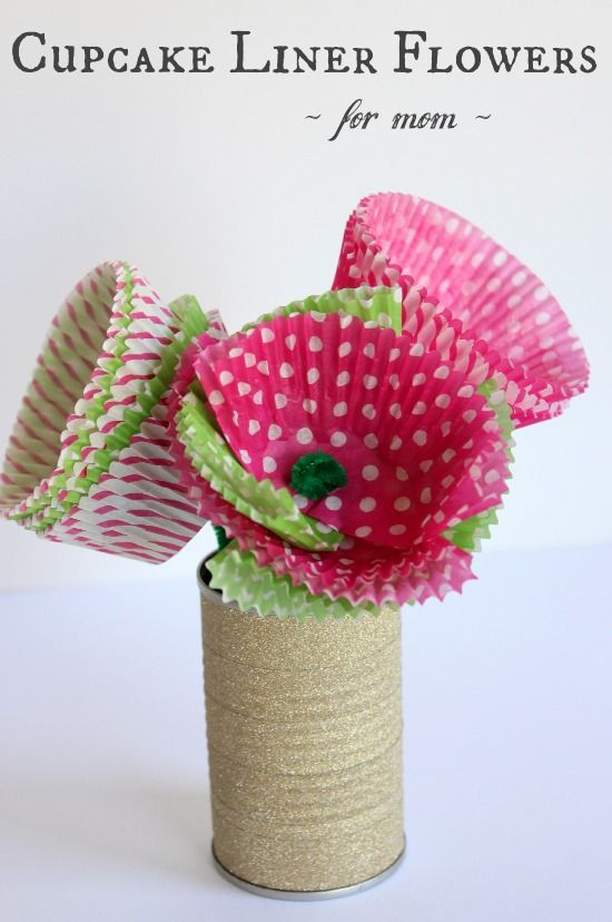 Cupcake Liner Flowers for Mom from makeandtakes.com.  DIY instructions for kids of all ages.