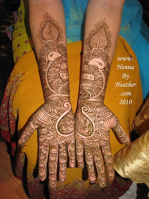 indian_bridal_style_heart_palms_peacock_forearms_mehndi_henna_paste_on by Henna by Heather - Mehndi in Boston / Providence M, via Flickr