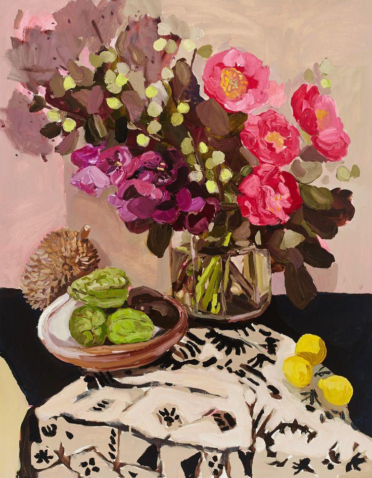 Peony and choko still life 2014, oil on linen, 142 x 112 cm, Laura Jones