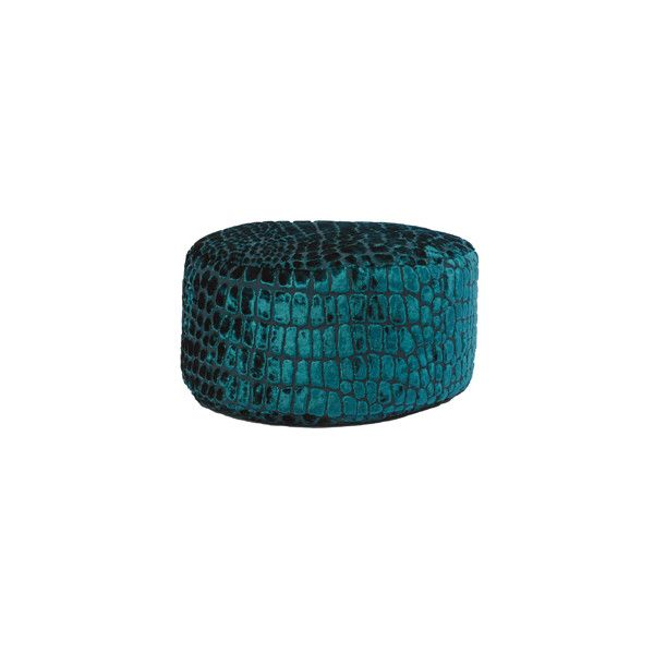 Heal's   Designers Guild Nabucco Velvet Teal Bean Drum > Bean Bags (955 BRL) ❤ liked on Polyvore featuring home, furniture, ottoman, home decor, teal furniture, beanbag furniture, velvet furniture and bean bag