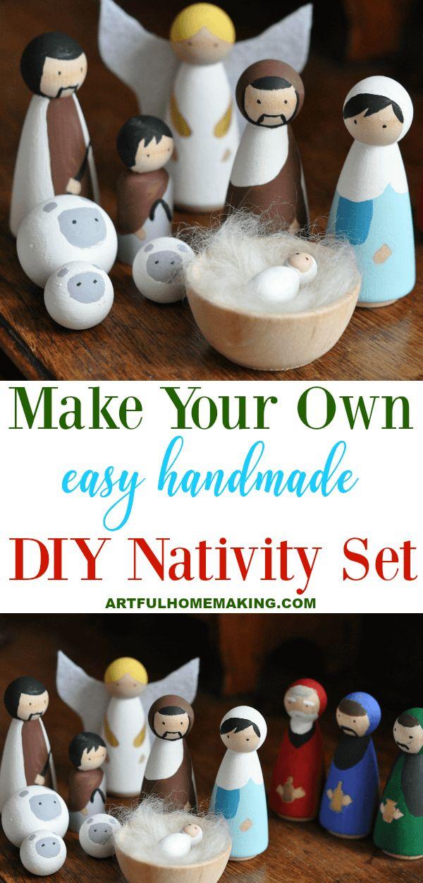 Handmade Wooden Nativity Set DIY Tutorial   Diy nativity ...