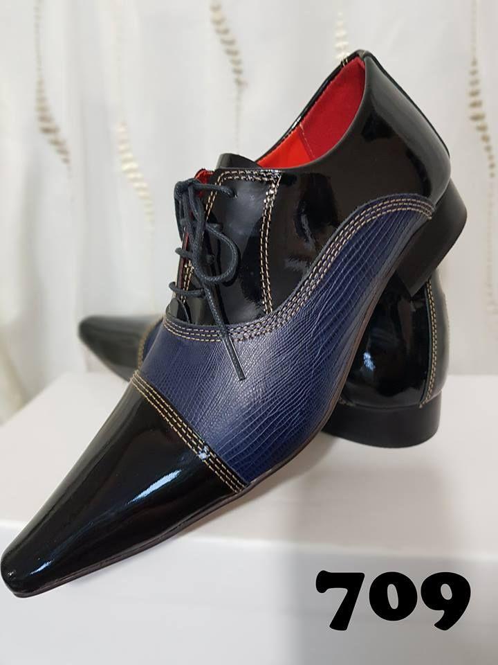c5d905e87 Sapatos sociais com cadarço verniz preto e lezard azul 709