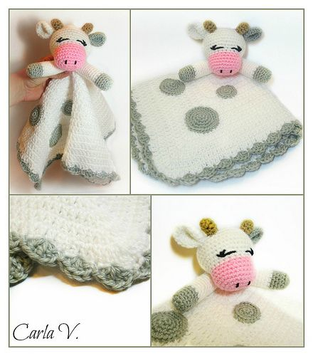 Cow Crochet Lovey Blanket - READY TO SHIP