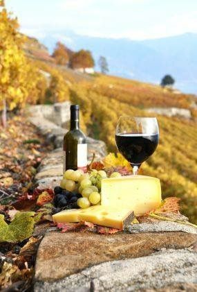 We can already smell the sweetness in the air of wine and sunshine.  Image: Recipe.com #wishwewerehere #winelovers #redwine #cheese
