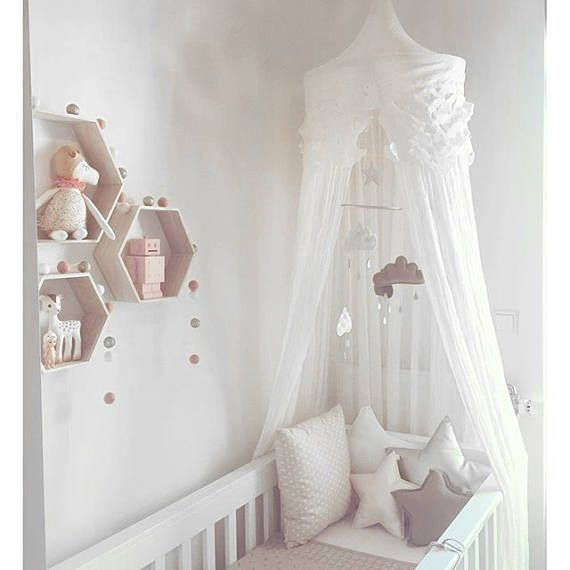 Infant Mobile Prunus Persica White And Coral Clouds As Well As Star Mobile Z. Hd. Kindergarten#clouds #c… In 2020 | Baby Room Colors, Baby Girl Room, Baby Girl Nursery Room