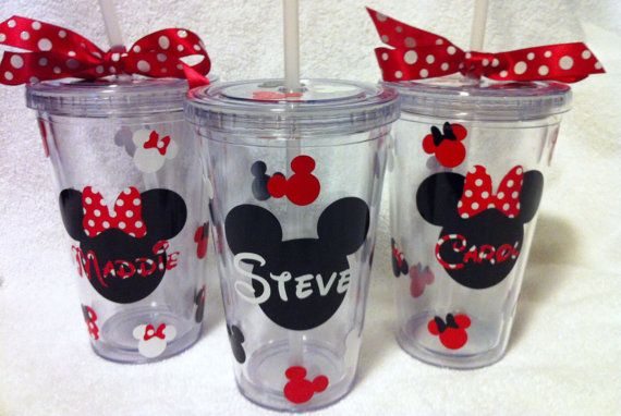 Set of four Minnie/Mickey Tumblers by SweetSerendipityShop