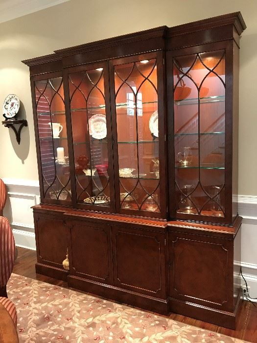 Found on EstateSales.NET: Library Bookcase, Drexel Breakfront Mahogany Cabinet with lights and heavy glass shelving